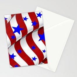 PATRIOTIC AMERICANA JULY 4TH BLUE STARS DECORATIVE ART Stationery Cards