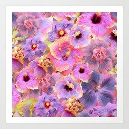 Tropical hibiscus patterns Flower Floral Flowers Art Print