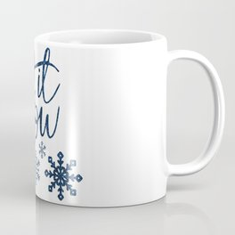 Let It Snow Blue Glitter Typography Winter Coffee Mug
