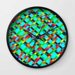 geometric pixel square pattern abstract background in green yellow blue orange Wall Clock