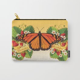 Monarch Butterfly with Strawberries Carry-All Pouch
