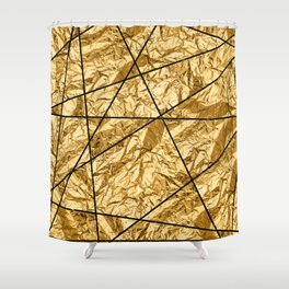 Shiny yellow gold with marble Shower Curtain