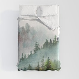 Watercolor Pine Forest Mountains in the Fog Duvet Cover