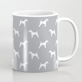 Airedale Terrier grey and white minimal dog pattern dog silhouette pattern Coffee Mug