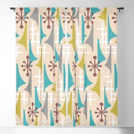 Mid Century Modern Atomic Wing Composition 66 Brown Gray Turquoise and Olive Green Blackout Curtain