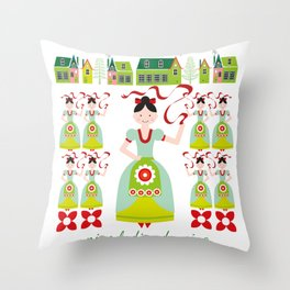 12 Days of Christmas - Nine Ladies Dancing Throw Pillow