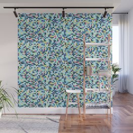 Blue White Yellow Tiling Colored Squares Wall Mural