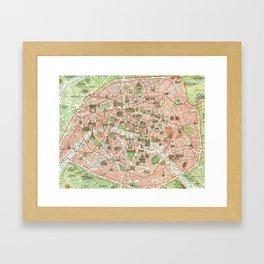 Vintage Map of Paris (1920) Framed Art Print