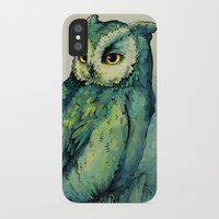 harry potter iPhone & iPod Cases featuring Green Owl by Teagan White