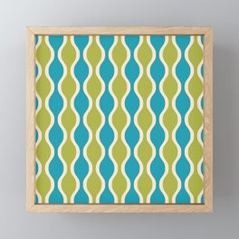Classic Retro Ogee Pattern 852 Turquoise and Olive Framed Mini Art Print