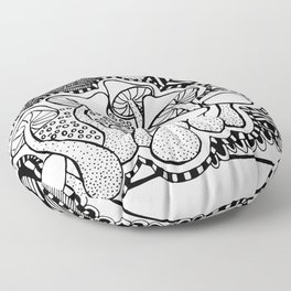 Mushrooms outline black and white drawing Floor Pillow
