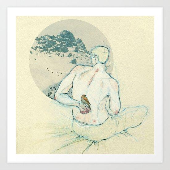 Boy and bird. Art Print
