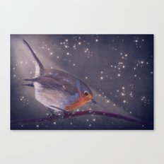 The little robin at the night Canvas Print