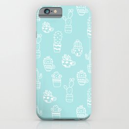 White and Turquoise blue cactus pot pattern iPhone Case