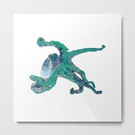 Tropical Flower Octopus Metal Print