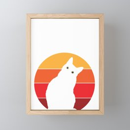 Vintage Retro 80s Curious Cute Cat on Sunset Looking Funny design Framed Mini Art Print
