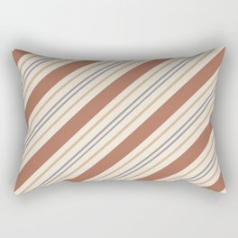 Cavern Clay SW 7701 and Accent Colors Thick and Thin Angled Lines Triple Stripes 1 Rectangular Pillow