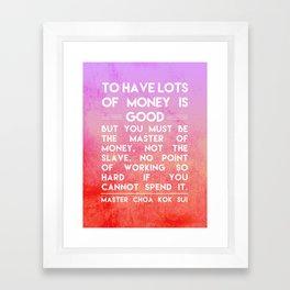 Man Over Money Framed Art Print