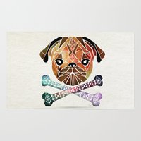 pug Area & Throw Rugs featuring pug by Manoou