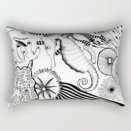 Coral reef black and white Rectangular Pillow