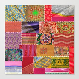 Boho Sari Patchwork Quilt Canvas Print