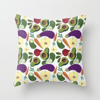 vegetables Throw Pillows featuring vegetables by Aina Bestard