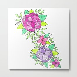 Peonies  Watercolor Metal Print