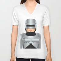 robocop V-neck T-shirts featuring Robocop by Capitoni