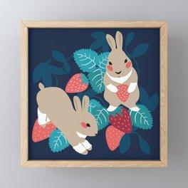 Strawberry Bunny Framed Mini Art Print
