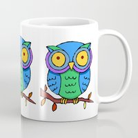 cartoon Mugs featuring Cartoon Owls by Ron Trickett