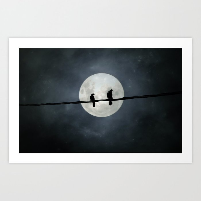 Two Crows In The Light Of A Silvery Moon Art Print