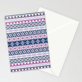 Aztec Stylized Pattern Blues Pinks Purples White Stationery Cards