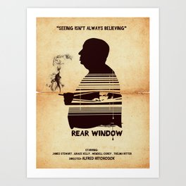 Rear Window Hitchcock silhouette art Art Print