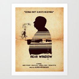 Rear Window Hitchcock silhouette art Art Print