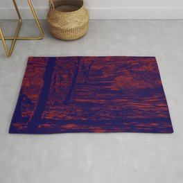 along the river, red & blue Rug
