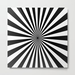 BLACK AND WHITE OPTICAL ILLUSION - SPIRALS INTO THE CENTRE Metal Print