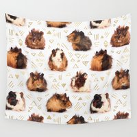 pig Wall Tapestries featuring The Essential Guinea Pig by micklyn
