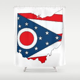 Map of Ohio with State Flag Shower Curtain