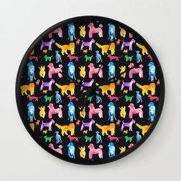 Happy Dogs On Black Wall Clock