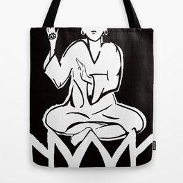 black and white buddha Tote Bag