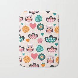 Owls and hearts Bath Mat