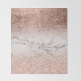 Modern faux rose gold glitter and foil ombre gradient on white marble color block Throw Blanket