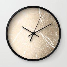 Paris France Minimal Street Map - Gold on White Wall Clock