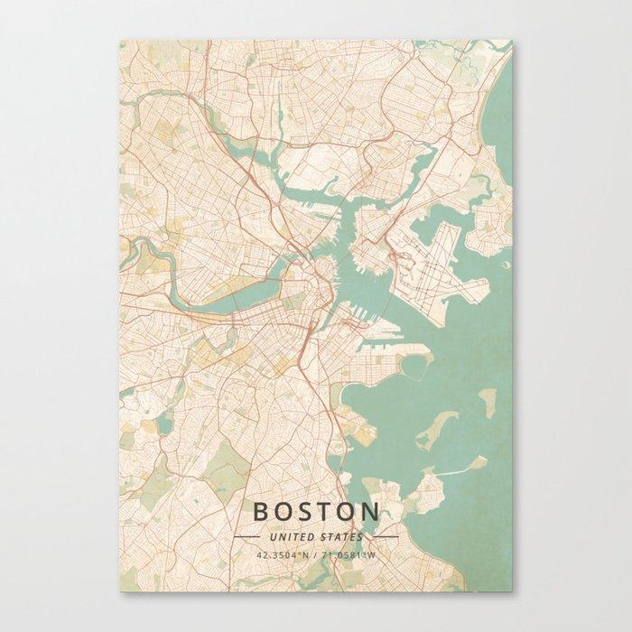 Boston, United States - Vintage Map Leinwanddruck