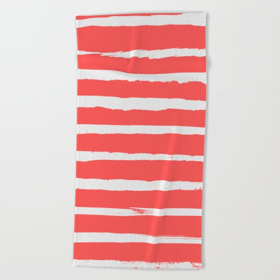 Irregular Hand Painted Stripes Coral Red Beach Towel