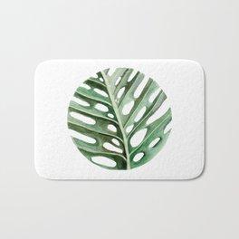 Circular Monstera Leaf Painting Bath Mat