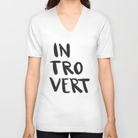 introvert V-neck T-shirts featuring Introvert by Dead Language