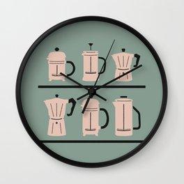 Volturno & French Press Coffee #6 opaque aqua & vintage pink Wall Clock