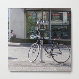 Bike locked to parking meter Metal Print