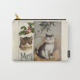 Merry Catmas vintage cat xmas illustration Carry-All Pouch